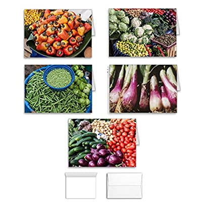 Vegetable Card Note Card Value Pack Set of 10 Assorted Blank Inside All Occasion Foldover Cards with Envelopes, Bulk Variety Assortment of 5 Different Designs