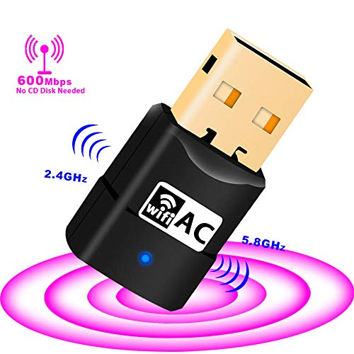 (USB WiFi Adapter - 600Mpbs Dual Band Wireless Adapter for PC/Desktop/Laptop, Support Windows 10/8/8.1/7/Vista/XP/2000, Mac OS 10.6-10.13, No CD Disk Needed)