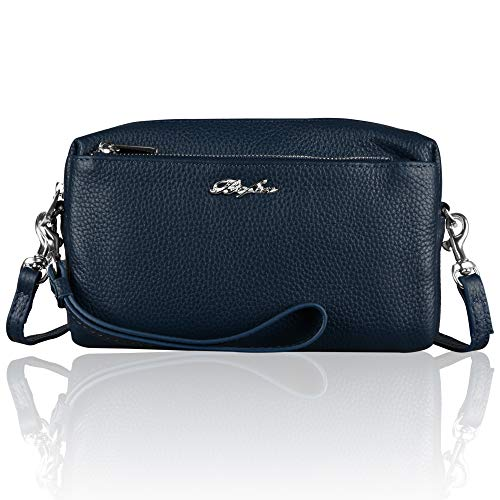 Befen Women Full Grain Leather Tripple Zip Crossbody Bag Crossbody Cell Phone Purse Wallet Bag Phone Wristlet - Navy Blue