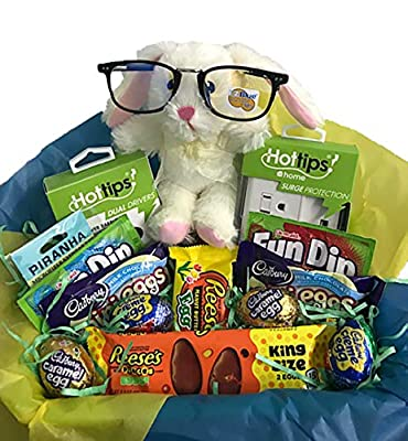 Premade Easter Basket for College Students, Gamer's Techies. Blue-Blocking Glasses, USB Flash Drive, Portable Surge Protector, Dual-Driver Ear Buds, Candy Chocolate and More!