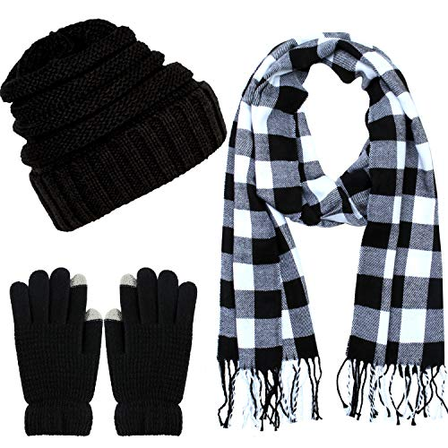 Aneco Winter Warm Knitted Scarf Beanie Hat and Gloves Set Men & Women's Soft Stretch Hat Scarf and Mitten Set (Womens Thick Set Hat Scarf And)