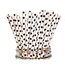 Paper Straws- Mix of Vintage- Pale Pink Polka Dots with Black Straws Party Disposable Straws (100 Straws) by A Charming Galore