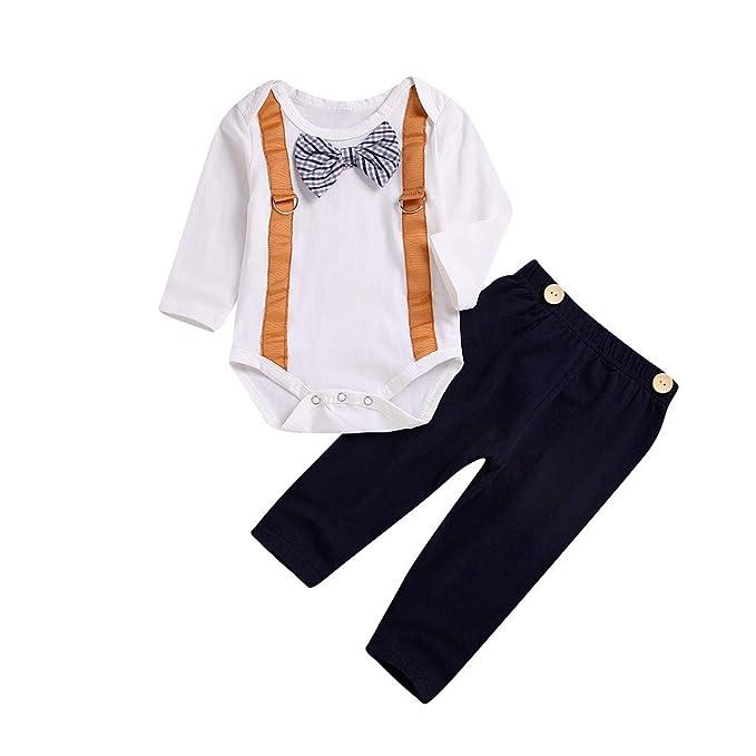 Mitlfuny Conjunto de 2 Piezas Arco Gentleman Mameluco Tops + Botón Pantalones Ropa Camisetas de Bebé