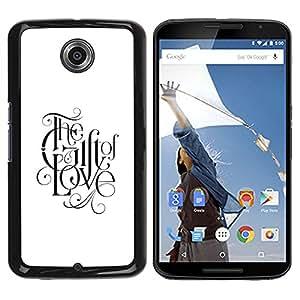 YOYOYO Smartphone Protección Defender Duro Negro Funda Imagen Diseño Carcasa Tapa Case Skin Cover Para Motorola NEXUS 6 X Moto X Pro - dios fe amor fe texto negro blanco