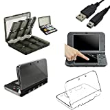 EEEKit Clear Cover Protective Case+Screen Protector+28-in-1 Game Card Case+2 Pcs USB Charging Cable for New Nintendo 3DS XL LL,Top/Bottom LCD Screen