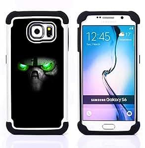 For Samsung Galaxy S6 G9200 - Green Eyes Skull Dual Layer caso de Shell HUELGA Impacto pata de cabra con im??genes gr??ficas Steam - Funny Shop -
