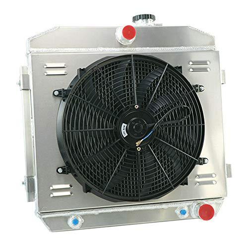 (OzCoolingParts 55-57 Chevy Radiator Fan Shroud Kit, 3 Row Core Aluminum Radiator + 2 x 10