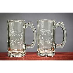 Fighting Bull & Bear Beer Mug Set of Two 12.5 Oz - Stock Market