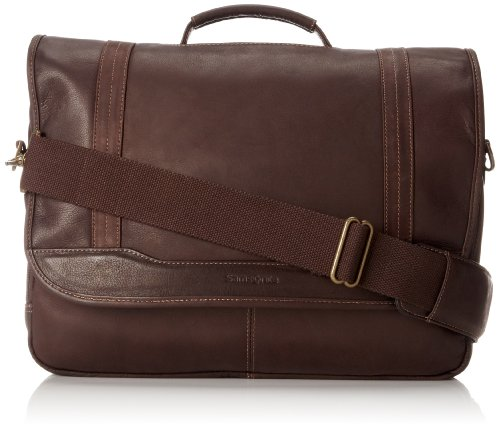 - Samsonite Colombian Leather Flapover Briefcase, Brown