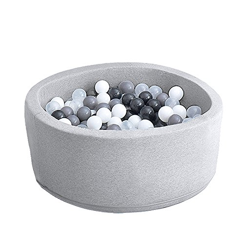 Wonder Space Deluxe Kids Round Ball Pit, Premium Handmade Kiddie Balls Pool, Soft Indoor Outdoor Nursery Baby Playpen, Ideal Gift Play Toy for Children Toddler Infant Boys & Girls (Light Grey)