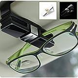 double sun visor - HaloVa Car Glasses Holder, Car Visor Sunglasses Ticket Clip Holder, Double Sunglasses Mount Eyeglasses Clip Cash Money Card Holder for Auto Sun Visor/Air Vent, Black