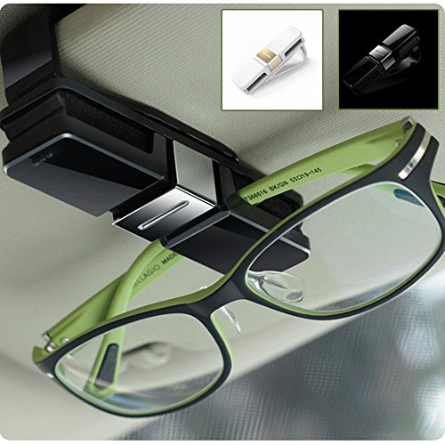 HaloVa Car Glasses Holder, Car Visor Sunglasses Ticket Clip Holder, Double Sunglasses Mount Eyeglasses Clip Cash Money Card Holder for Auto Sun Visor/Air Vent, - Sunglass Holder Visor