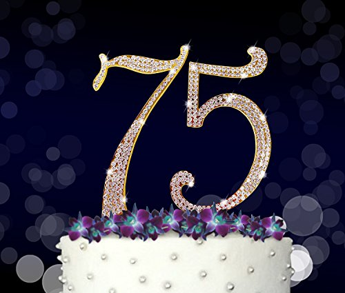 75, 75th Happy Birthday Cake Topper, Anniversary, Crystal Rhinestones on Gold Metal, Party Decorations, Favors, Vow Renewal (One Dozen Rainbow Roses)