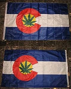 3x 5bandera de Colorado hierba hoja de marihuana Reefer 2cara de doble capa resistente al viento 3X 5FT Premium Vivid color y UV decoloración mejor jardín Outdor Decor lienzo resistente al cabecera y poliéster MATERIAL bandera