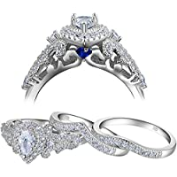 Newshe Wedding Engagement Ring Set for Women 925 Sterling Silver 3pcs 1.4Ct Pear White Cz Size 5-10