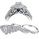 Newshe Wedding Engagement Ring Set for Women 925 Sterling Silver 3pcs 1.4Ct Pear White Cz Size 9