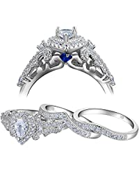 Newshe 3pcs 1.4Ct White Cubic Zirconia 925 Sterling Silver Wedding Engagement Ring Set Size 5-10