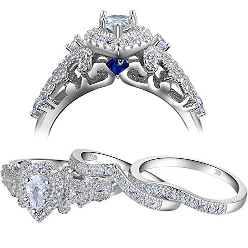 - Newshe Wedding Engagement Ring Set for Women 925 Sterling Silver 3pcs 1.4Ct Pear White Cz Size 7