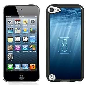 NEW Unique Custom Designed iPod Touch 5 Phone Case With Ocean Sunlight iOS 8 Text Logo_Black Phone Case