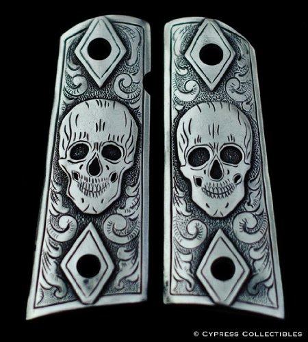 (Cypress Home Pewter 1911 Gun Grips Skull Skeleton Pistol Design)