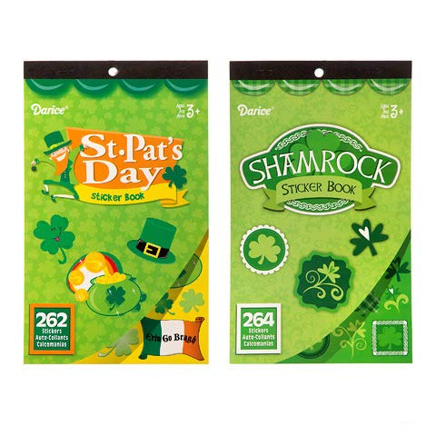 J&J's ToyScape 526 Ct St. Patrick's Day Sticker Book (Pack of 2 Assorted Styles) Irish Festival Art & Decoration, Invitation Sealers