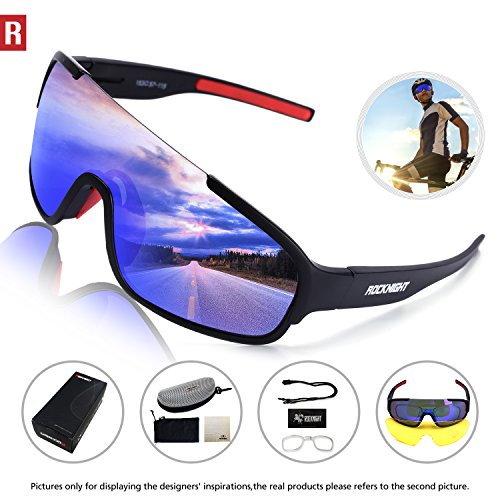 Rocknight REVO Sports Sunglasses for Men Women with 2 Interchangeable Lenses Cycling Running Driving Baseball Glasses UV Protection Black Red - Sunglasses Revo