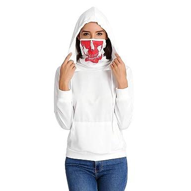 BBsmile Sudadera Mujer Blanco Larga Mascara de Primavera Cráneo Manga Larga con Capucha Blusas Mujer Manga Larga Ofertas Originales Camisas Mujer ...