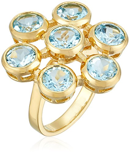 Gold Plated Sterling Silver Blue Topaz Flower Ring