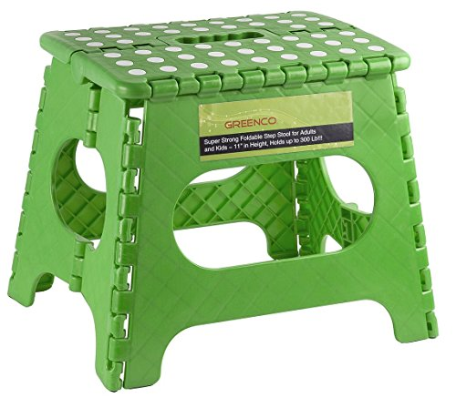 Greenco 0050D Super Strong Foldable Step Stool for Adults and Kids - 11 inches in Height, Holds up to 300 Lb, Color Green