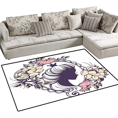 Queen Floor Mat for Kids Young Princess Portrait Silhouette in Floral Frame Feminine Noble Woman Style Bath Mat Non Slip 3'x5' Plum Ivory Coral