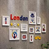 Creative England clock combination photo wall children's room warm cute photo frame decorative wall ( Color : White frame )