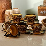 Mughal handpainted Cup Saucer(Set of 6)