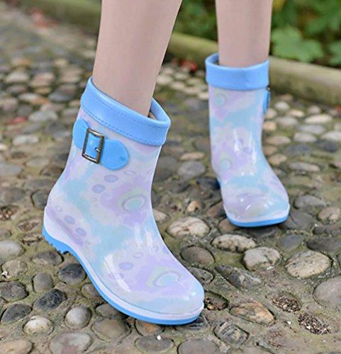 LvRao Mujeres Botas de Lluvia Nieve a Prueba de Agua | Botines Liso Zapatos de Goma Tacón Alto Blanco
