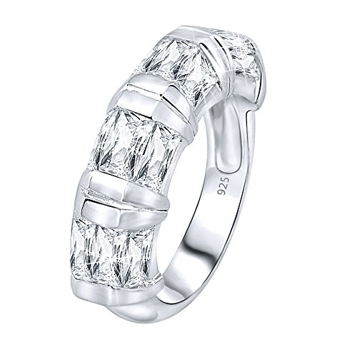 Designer Cz Rings - Mother's Day Gift Women's Sterling Silver .925 Designer Ring Featuring Baguette Cubic Zirconia (CZ) Stones, Platinum Plated jwellery