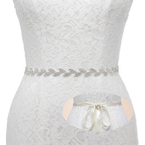 SWEETV Rhinestone Leaf Bridal Belt Thin Crystal Wedding Belt Bridesmaid Sash for Dress & Gown, - Beaded Leaf