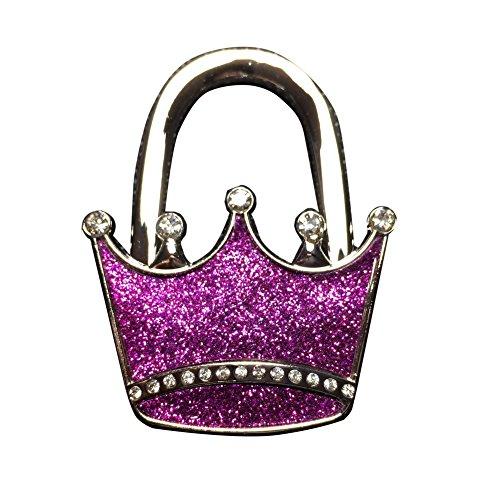 HSL Crown Style Foldable Table Bag Purse Caddy Handbag Hanger Holder Hook Purple