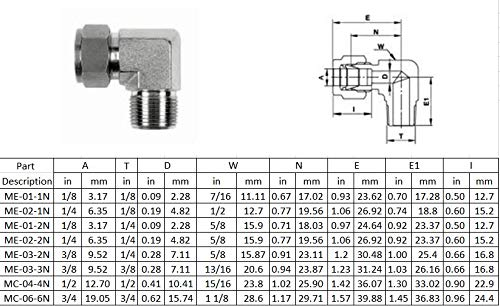 Compression Ferrule Fittings Male Elbow,Two Ferrule Tube Fittings Connector Adapter Stainless Steel 316L