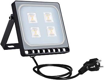 2X 10W LED Flutlicht Außenleuchte mit EU Stecker Strahler Scheinwerfer Warmweiß