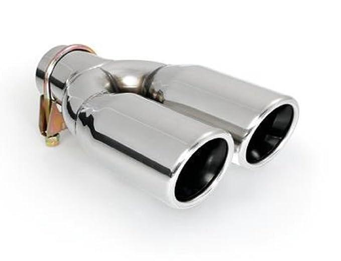CARTUNER Endrohr Doppelrohr Auspuffblende 2x60mm Edelstahl