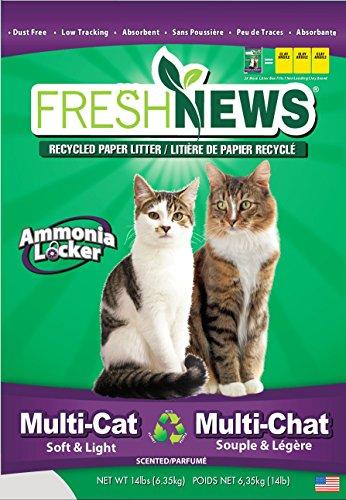 Litter Recycled Cat - Fresh News Paper Cat Litter Multi-Cat Litter, Gray, 14 lb