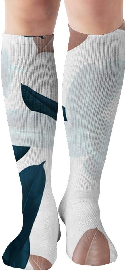 Dark Green White Brown Nature Unisex Elastic Long Socks Compression Knee High Socks for Sports, Running, Travel 19.7 Inch