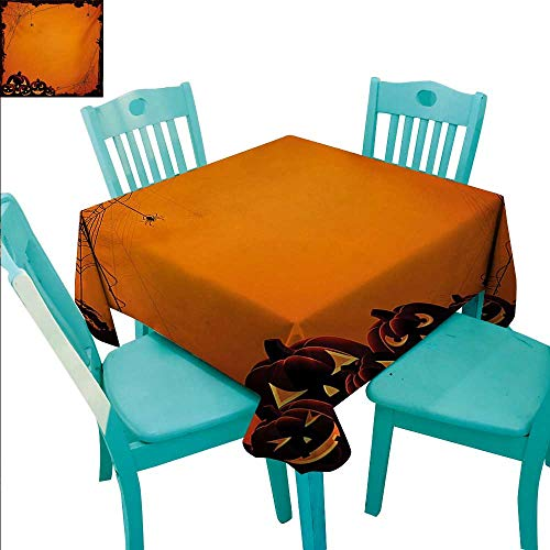 Halloween Washable Table Cloth Grunge Spider Web Jack o Lanterns Horror Time of Year Trick or Treat Print Washable Polyester - Great for Buffet Table, Parties, Holiday Dinner, Wedding & More 54