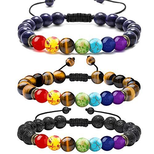 (Lava Rock Chakra Bracelet for Women - 8mm Nature Lava Rock Stone Bracelet 7 Chakras Anxiety Bracelet Set, Women Men Stress Relief Yoga Beads Aromatherapy Essential Oil Diffuser Bracelets(3 Pcs)