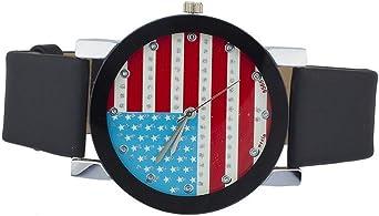Lux Accessories - Reloj Negro con diseño de Bandera Estadounidense ...
