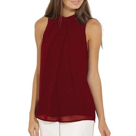 Kangma Women Summer Casual Chiffon Sleeveless Shirt Blouse Tank Tops Wine  Red at Amazon Women s Clothing store