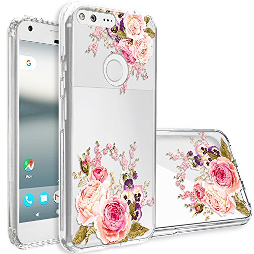 Google Pixel Case,Topnow [Anti-Scratch PC + Shockproof Anti-Drop Soft TPU] Advanced Printing Pattern Phone Cases Glossy Drawing Design Cover for Google Pixel(Pink Rose)