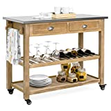 Best Choice Products Dining Kitchen Island Storage & Bar Cocktail Cart w/Stainless Steel Top - Rustic Wood