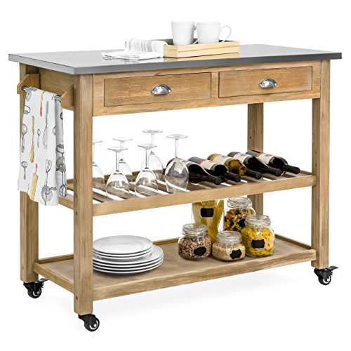 Best Choice Products Dining Kitchen Island Storage & Bar Cocktail Cart w/Stainless Steel Top - Rustic Wood (Bar Cart Wood)