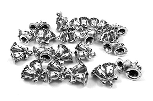 Set of Twenty (20) Silver Tone Pewter Wedding or Holiday Bells Charms ()