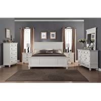 Roundhill Furniture B016KDMN2C Regitina 016 White King Bed, Dresser, Mirror, 2 Nightstands, Chest Bedroom Furniture Set
